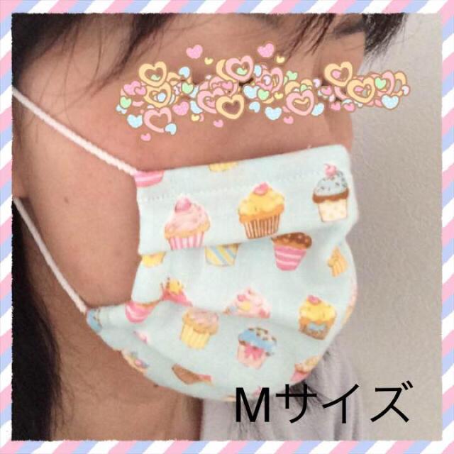 プリーツマスク M 水色×白ボーダー ハンドメイドのファッション小物(その他)の商品写真
