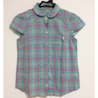 エフデ(ef-de)のef-deネコ刺繍入りチェックシャツ(シャツ/ブラウス(半袖/袖なし))