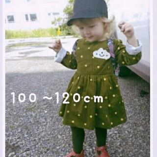 ★格安★110cm コーデュロイ ドットのワンピース 韓国 子供服 海外(ワンピース)
