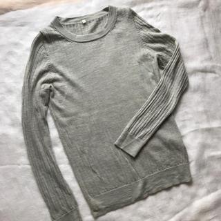 ムジルシリョウヒン(MUJI (無印良品))のウールシルク 洗えるリブセーター Lグレー(ニット/セーター)