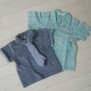 ミキハウス(mikihouse)のミキハウス チェックシャツ グリーン &ネクタイつきポロシャツ(シャツ/カットソー)