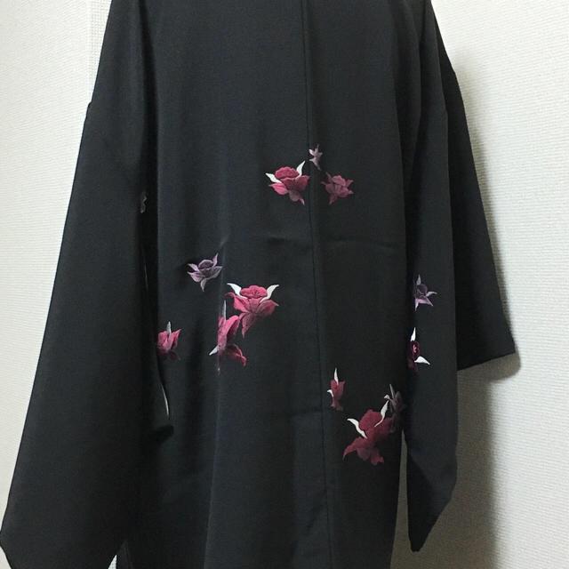 黒羽織 刺繍 レディースの水着/浴衣(着物)の商品写真