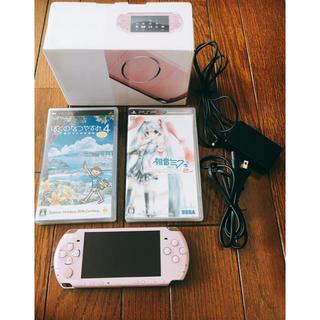 プレイステーション(PlayStation)のPSP-3000 ピンク&ソフトセット(携帯用ゲーム機本体)